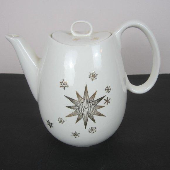 Ceramic Christmas Atomic Star Snowflakes Teapot